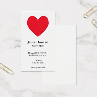 Coeur rouge cartes de visite