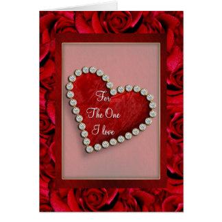Coeur rouge d'amour de Valentine romantique Cartes