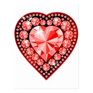Coeur rouge de pierre gemme carte postale