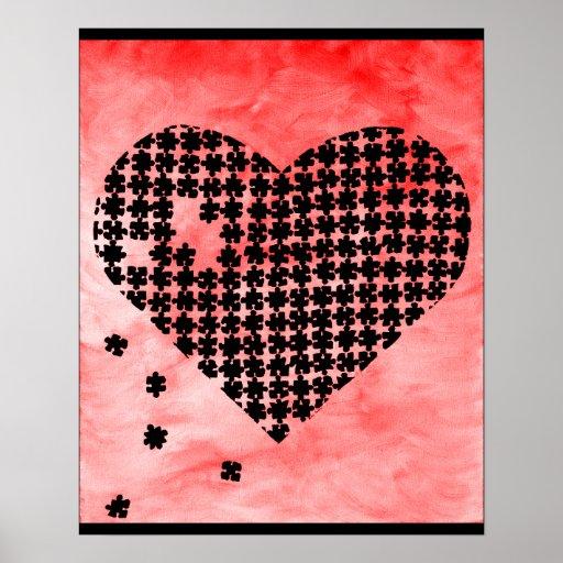 Coeur rouge de puzzle affiches