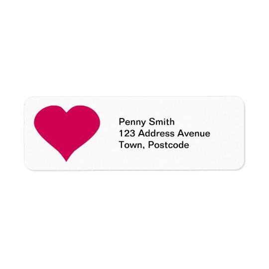 Coeur rouge étiquette d'adresse retour