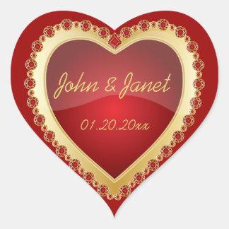 Coeur rouge-foncé brillant de bijou d'or d'amour sticker cœur