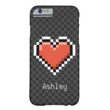 Coeur rouge Geeky de pixel avec le nom fait sur Coque Barely There iPhone 6