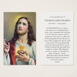 Coeur sacré de carte funèbre de prière de Jésus