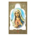 Coeur sacré de mémorial de carte de prière de Mary Carte De Visite Standard
