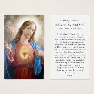 Coeur sacré funèbre de la carte   Jésus de prière