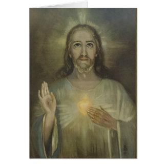 Coeur sacré miraculeux de blanc de carte de Jésus