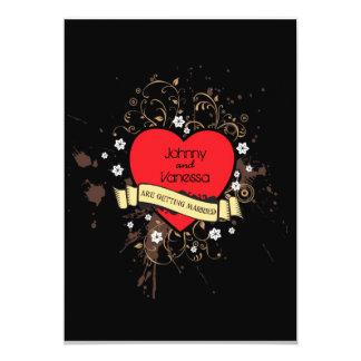 Coeur sale de rock (Brown) Carton D'invitation 12,7 Cm X 17,78 Cm