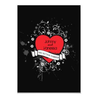 Coeur sale de rock (rouge) carton d'invitation  12,7 cm x 17,78 cm