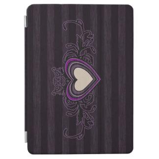 Coeur sale pourpre d'obscurité de rayures protection iPad air