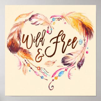 Coeur sauvage et libre d'amour d'aquarelle de poster