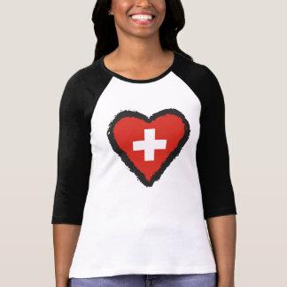 Coeur suisse - T-shirt de raglan de la Suisse