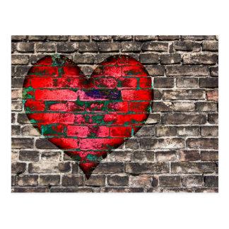coeur sur le mur carte postale
