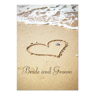 Coeur sur le rivage carton d'invitation  12,7 cm x 17,78 cm