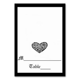 Coeur tourbillonnant noir de w/White - carte
