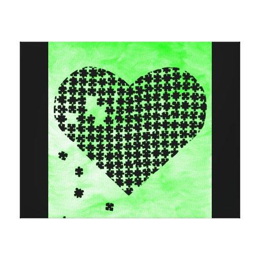 Coeur vert de puzzle impression sur toile