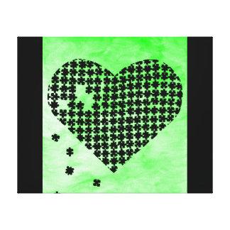 Coeur vert de puzzle toiles tendues