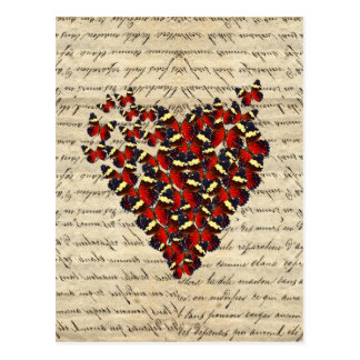Coeur vintage romantique de papillon carte postale