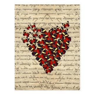 Coeur vintage romantique de papillon cartes postales