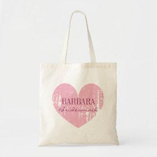 Coeur vintage rose mignon des sacs fourre-tout | à