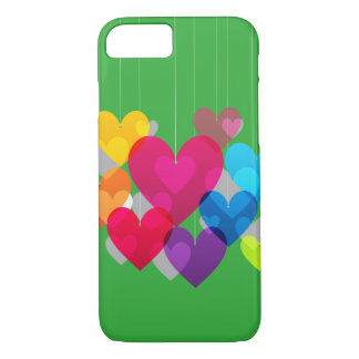 Coeurs accrochants colorés coque iPhone 7