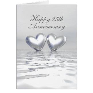Coeurs argentés d'anniversaire (grands) cartes
