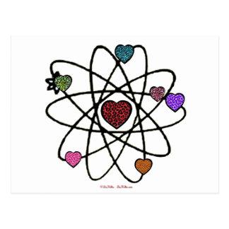 Coeurs atomiques d'empreinte de léopard de Valenti Carte Postale