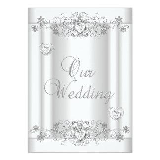 Coeurs blancs argentés de diamant de mariage carton d'invitation  11,43 cm x 15,87 cm