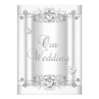 Coeurs blancs argentés de diamant de mariage bristols personnalisés