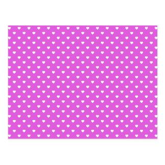 Coeurs blancs de Polkadot de sucrerie sur le lilas Carte Postale