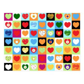 Coeurs colorés, carte postale