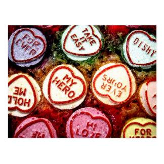 Coeurs colorés de sucrerie carte postale