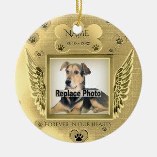 Coeurs commémoratifs d'or d'animal familier fait ornement rond en céramique