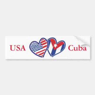 Coeurs d'amour des Etats-Unis Cuba Autocollant De Voiture