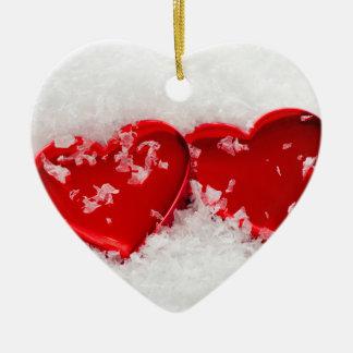 Coeurs d'amour en ornement double face de coeur de