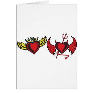 Coeurs d'ange et de diable carte de vœux