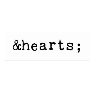 Coeurs dans le HTML Cartes De Visite Professionnelles