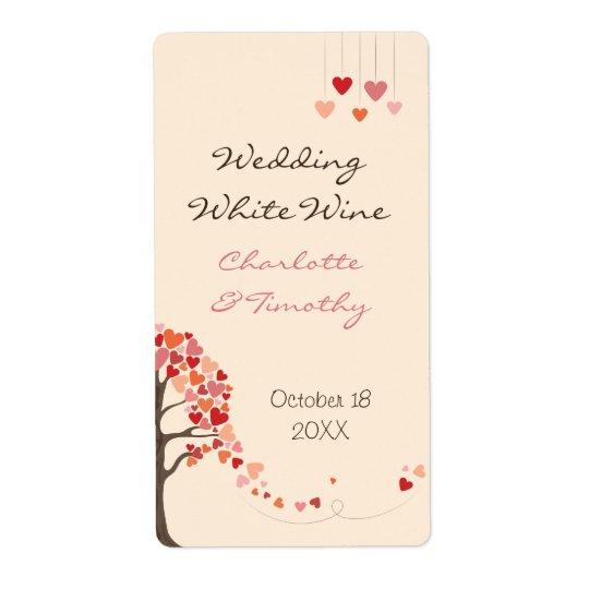 Coeurs d'arbre d'amour épousant l'étiquette de vin étiquette d'expédition