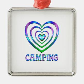 Coeurs de camping ornement carré argenté