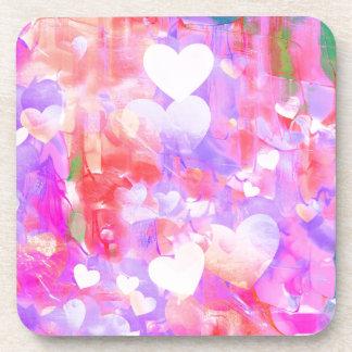 Coeurs de couleur d'eau sous-bocks
