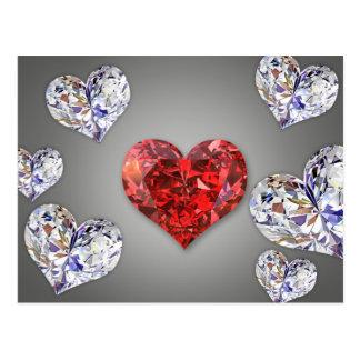 Coeurs de diamant - carte postale