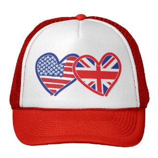 Coeurs de drapeau américain/drapeau d'Union Jack Casquette De Camionneur