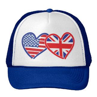 Coeurs de drapeau américain/drapeau d'Union Jack Casquettes