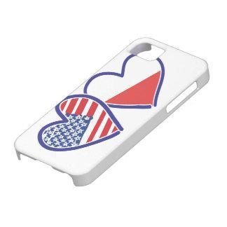 Coeurs de drapeau des Etats-Unis Pologne Étuis iPhone 5