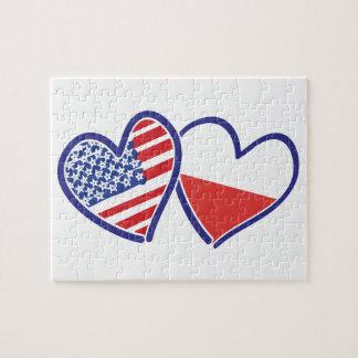 Coeurs de drapeau des Etats-Unis Pologne Puzzles