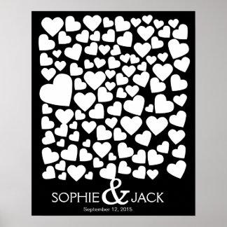 coeurs de livre d'invité de mariage de signature posters