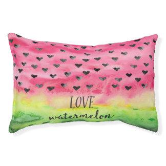 Coeurs de pastèque d'amour d'aquarelle lit pour chien
