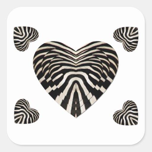 Coeurs de peau de zèbre stickers carrés