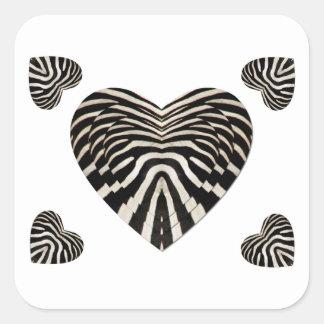 Coeurs de peau de zèbre sticker carré