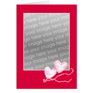 Coeurs de perle sur le rouge (cadre de photo) cartes